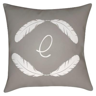 Gray Quill Monogram E Throw Pillow 18 x18  - Surya
