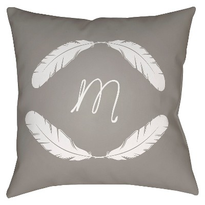 Gray Quill Monogram M Throw Pillow 18 x18  - Surya