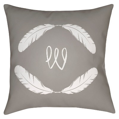 Gray Quill Monogram W Throw Pillow 18 x18  - Surya