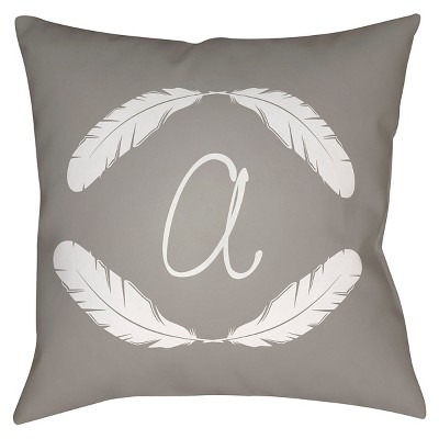 Gray Quill Monogram A Throw Pillow 20 x20  - Surya