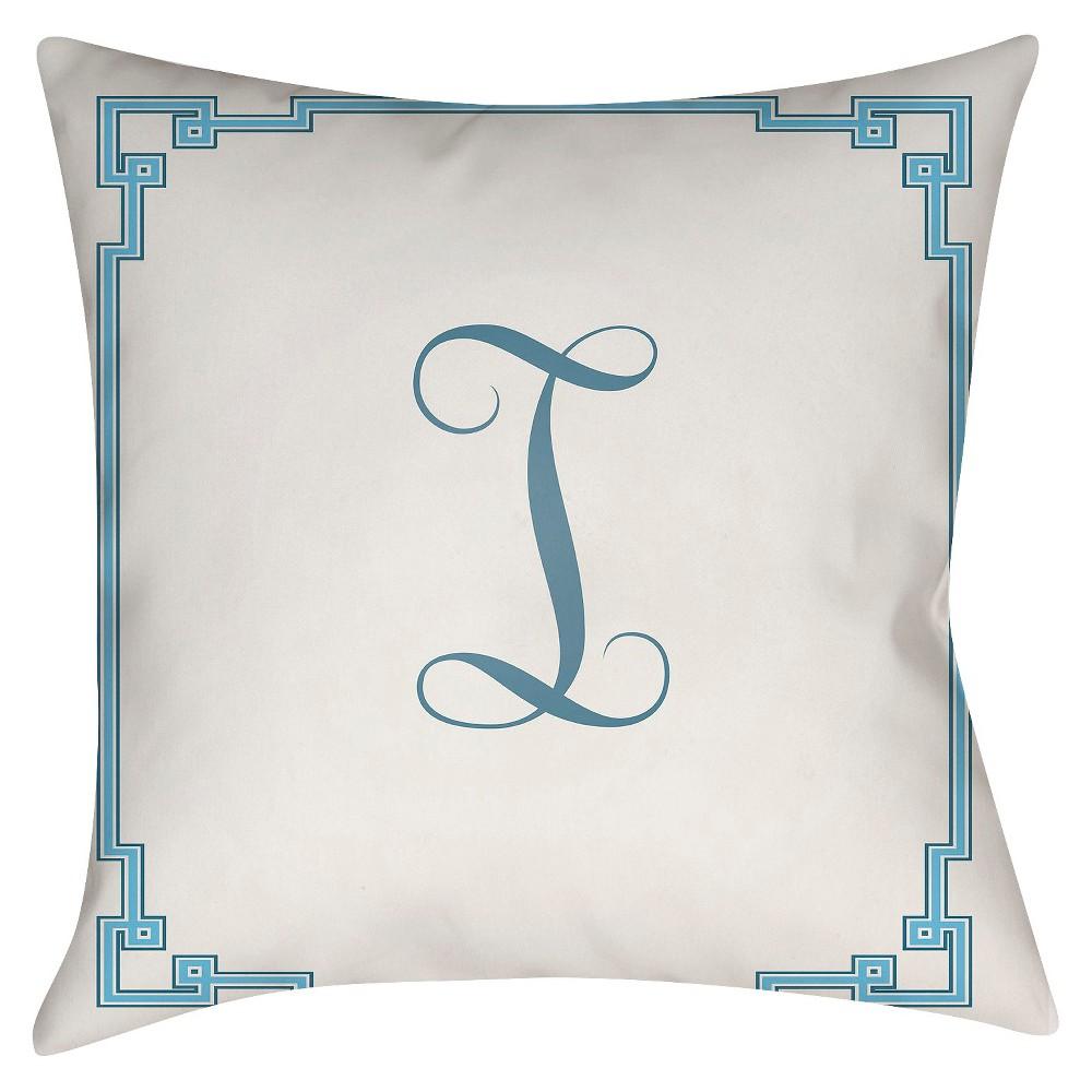 White Monogram I Throw Pillow 18″x18″ – Surya
