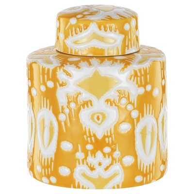A&B Home Ceramic Jar With Lid - Yellow/White (8.5 )