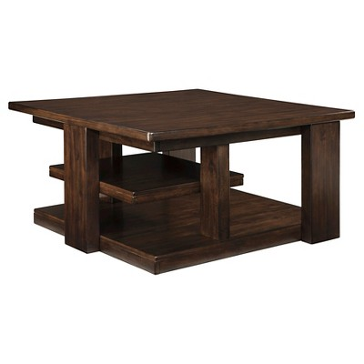 Garletti Square Cocktail Table Dark Brown - Signature Design by Ashley