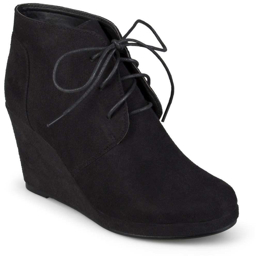Womens Journee Collection Faux Suede Wedge Booties - Black 7