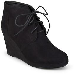 Women's Journee Collection Faux Suede Wedge Booties - Black 11