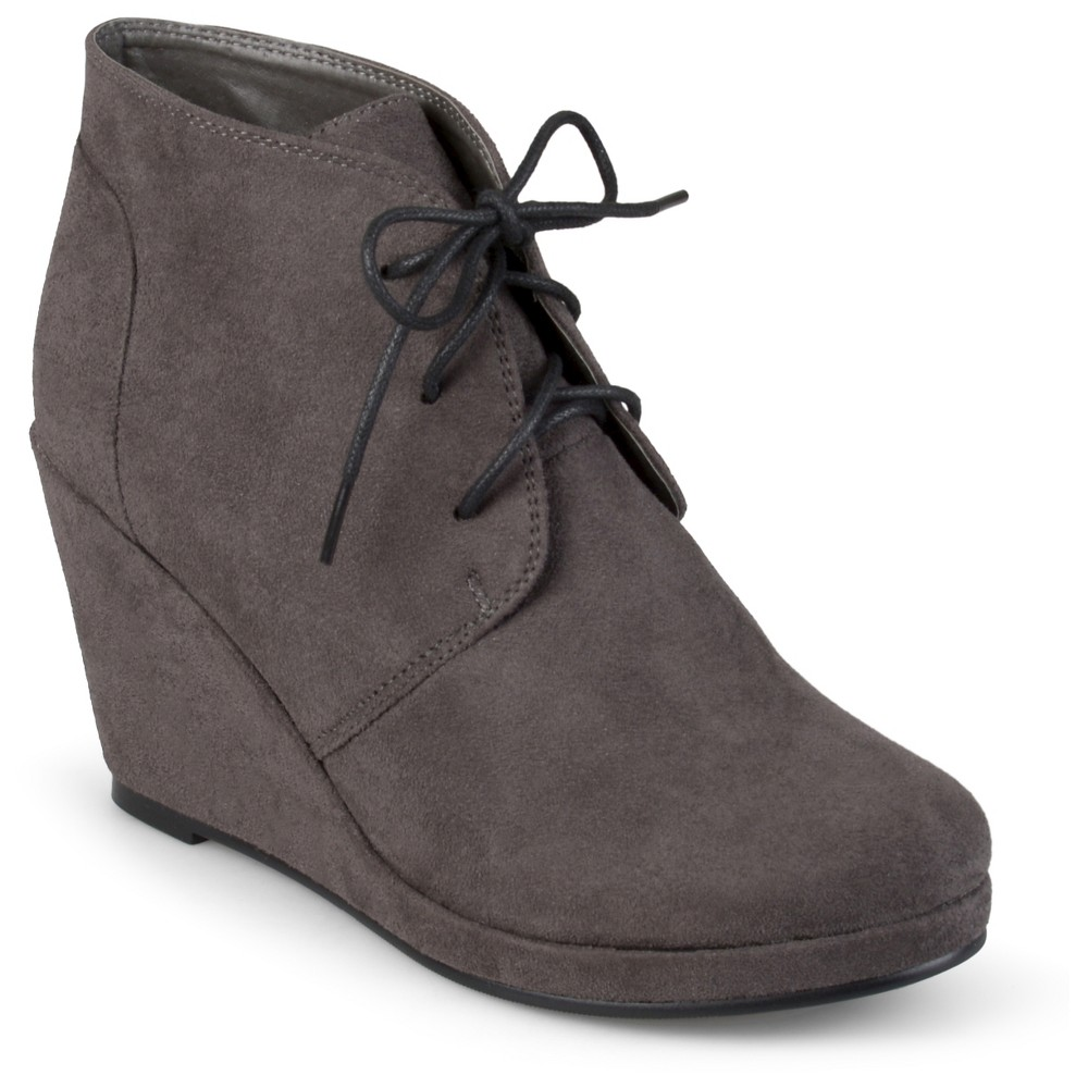 Womens Journee Collection Faux Suede Wedge Booties - Gray 6.5