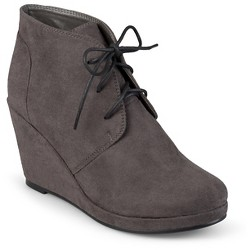 Women's Journee Collection Faux Suede Wedge Booties - Gray 8.5