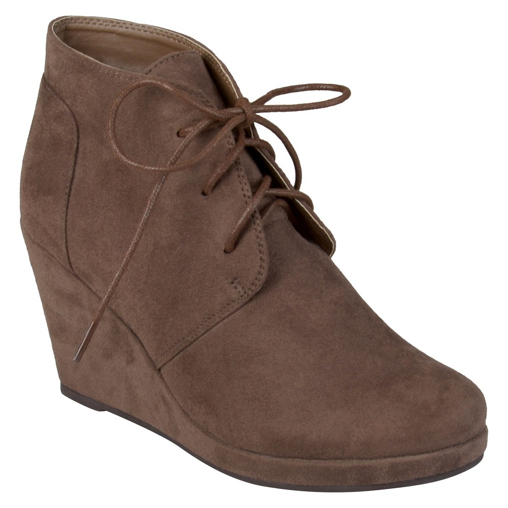 Womens Journee Collection Faux Suede Wedge Booties - Taupe Brown 6.5