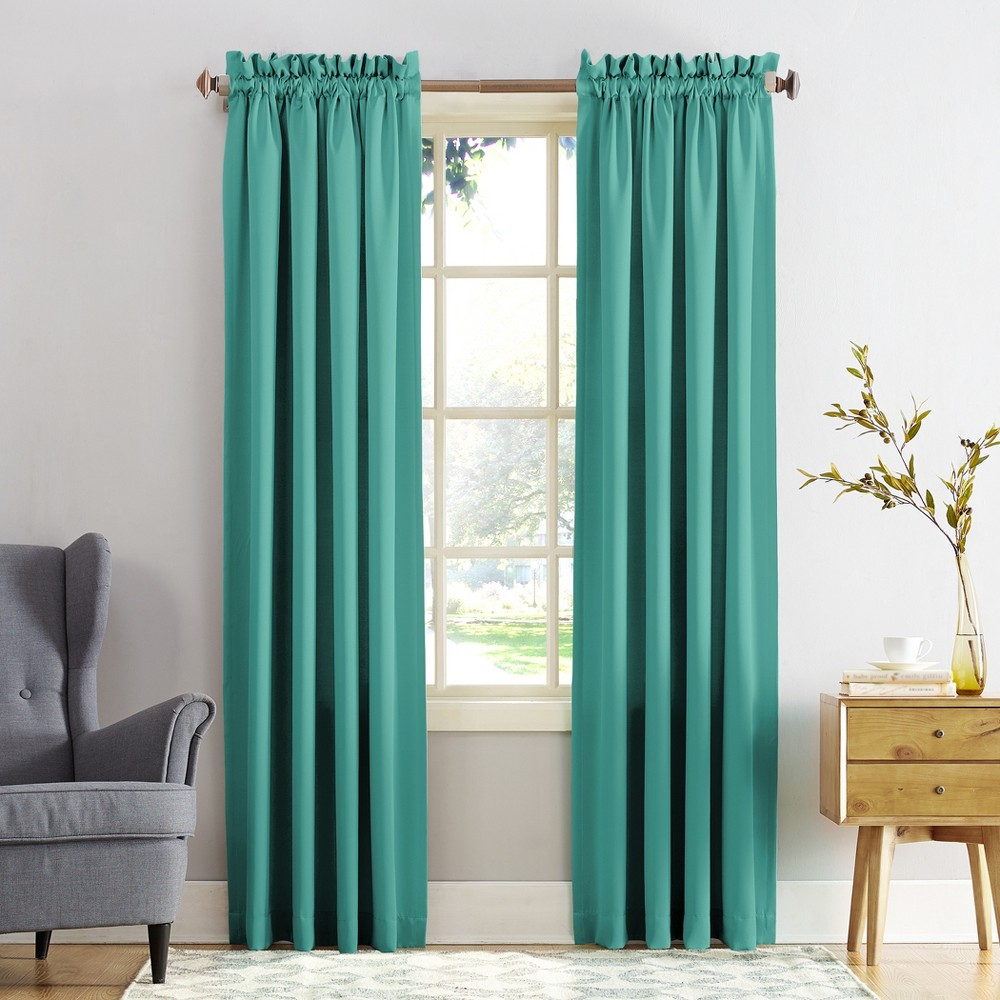 "Seymour Energy Efficient Rod Pocket Curtain Panel Sky (Blue) 54""""x84""""- Sun Zero"
