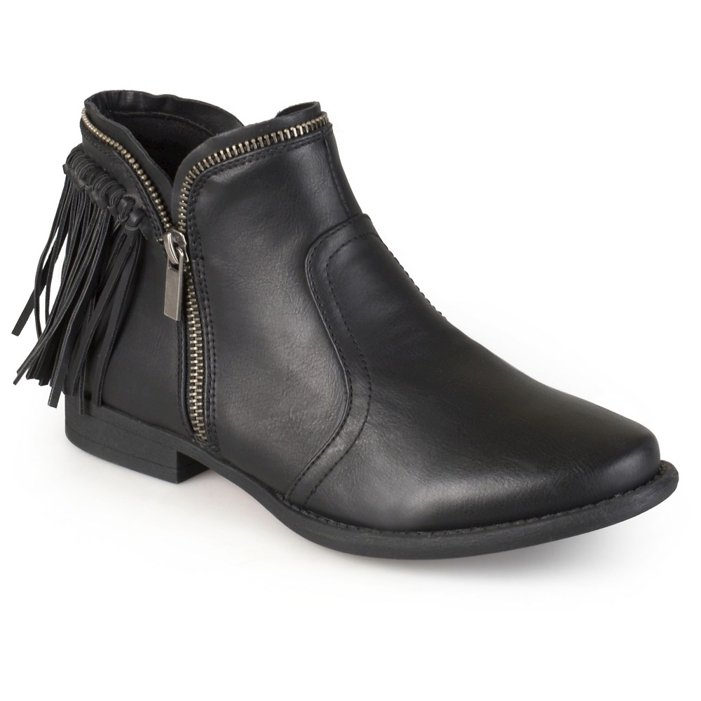 Womens Journee Collection Fringed Riding Booties - Black 6.5