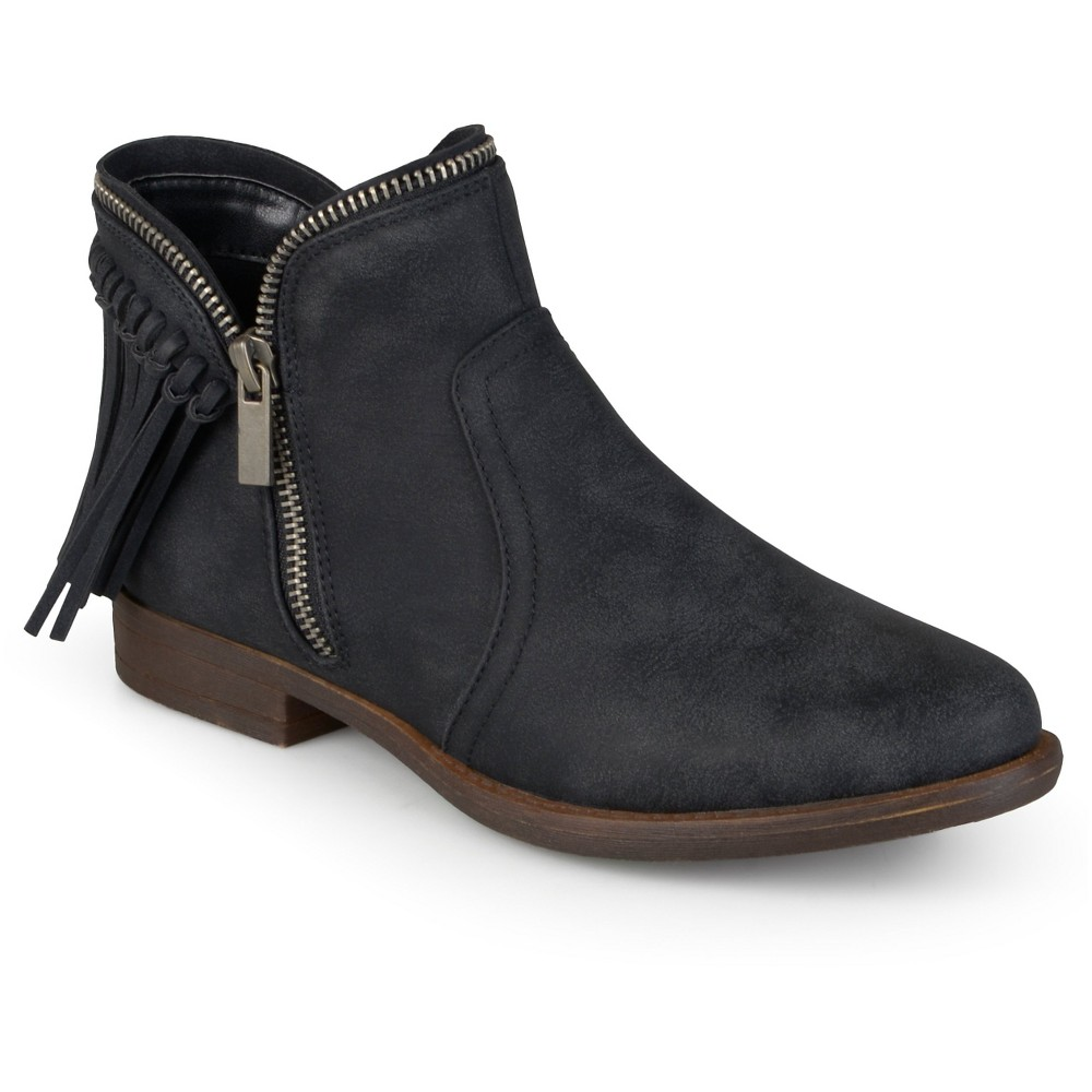 Womens Journee Collection Fringed Riding Booties - Black 7.5