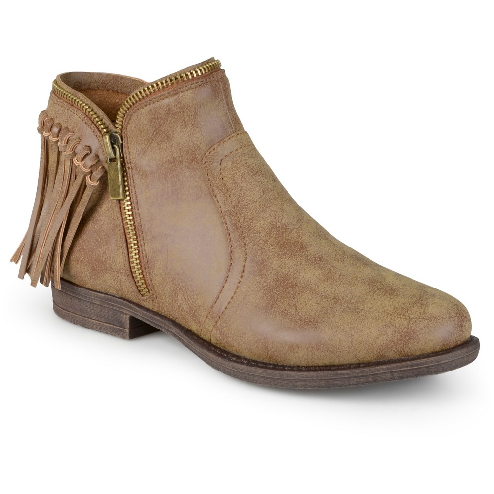 Womens Journee Collection Fringed Riding Booties - Dark Chestnut 11