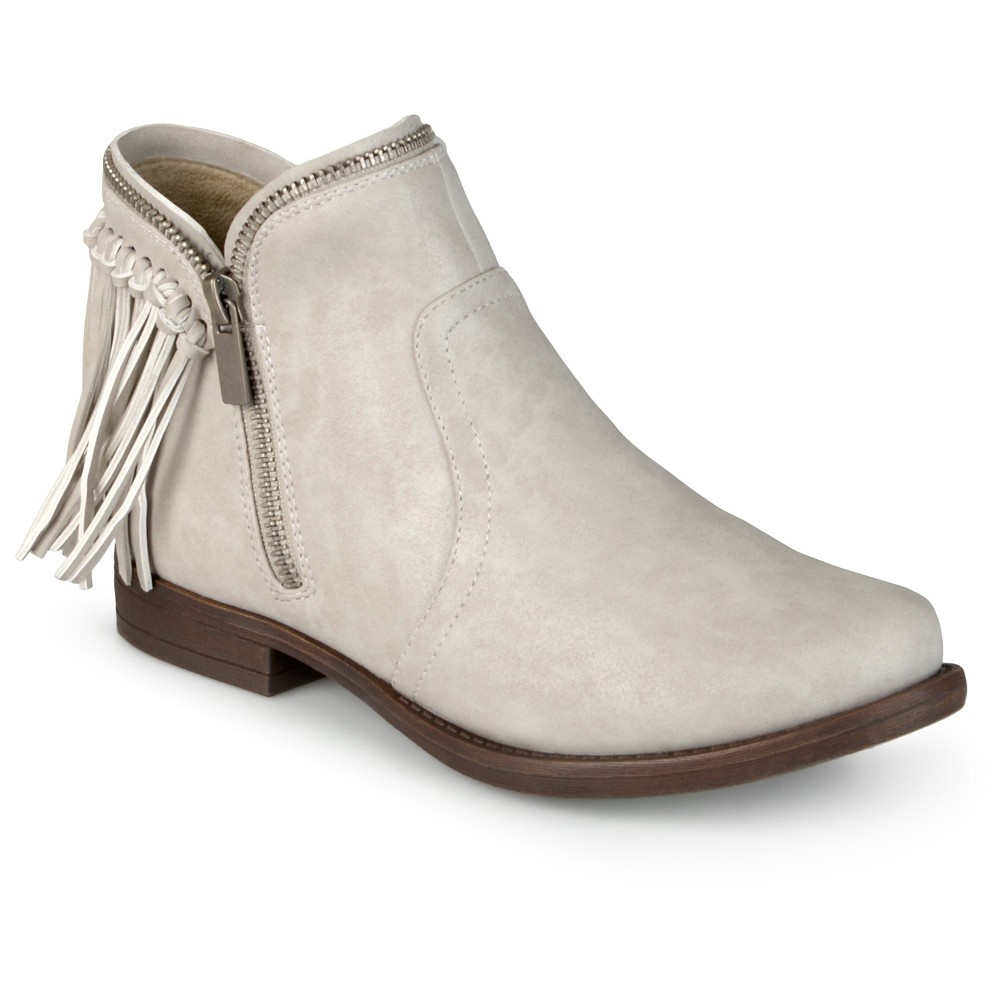 Womens Journee Collection Fringed Riding Booties - Stone (Grey) 6.5