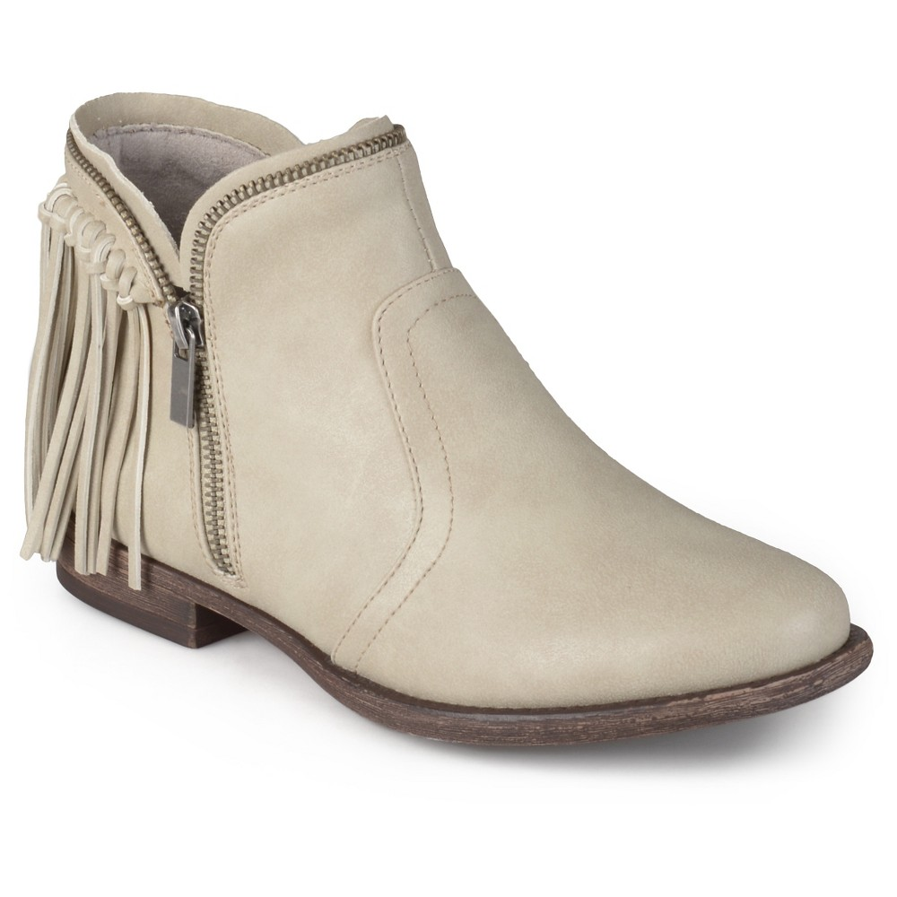 Womens Journee Collection Fringed Riding Booties - Stone (Grey) 10