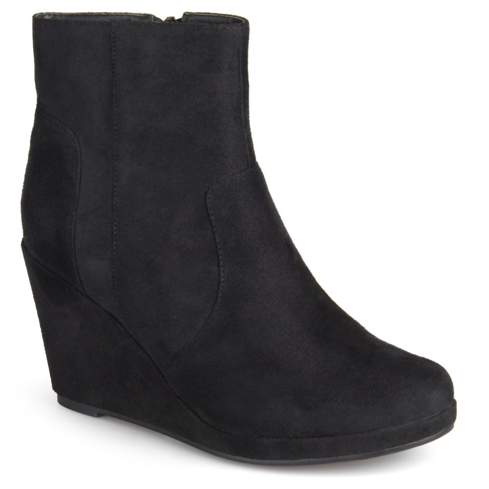 Womens Journee Collection Koala Faux Suede Wedge Booties - Black 7.5