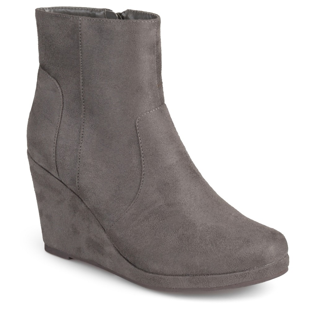 Womens Journee Collection Koala Faux Suede Wedge Booties - Gray 7.5