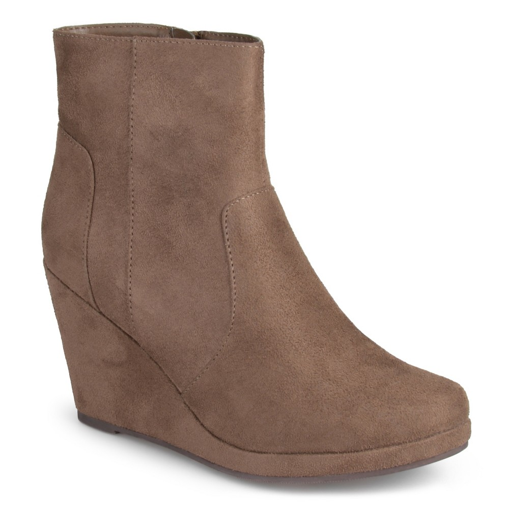 Womens Journee Collection Koala Faux Suede Wedge Booties - Taupe Brown 6.5