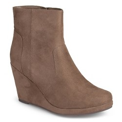 Women's Journee Collection Koala Faux Suede Wedge Booties - Taupe Brown 9