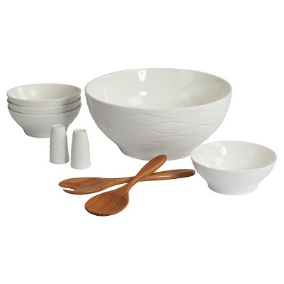 CreativeWare Wine & Dine 9-pc. Salad Serving Set - White