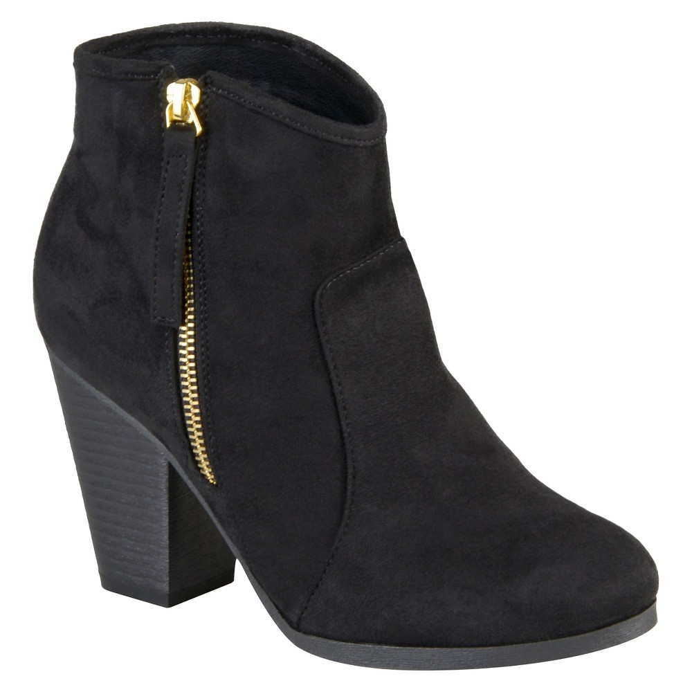 Womens Journee Collection Link Faux Suede Booties - Black 8.5