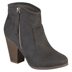 Women's Journee Collection Link Faux Suede Booties - Charcoal 8.5