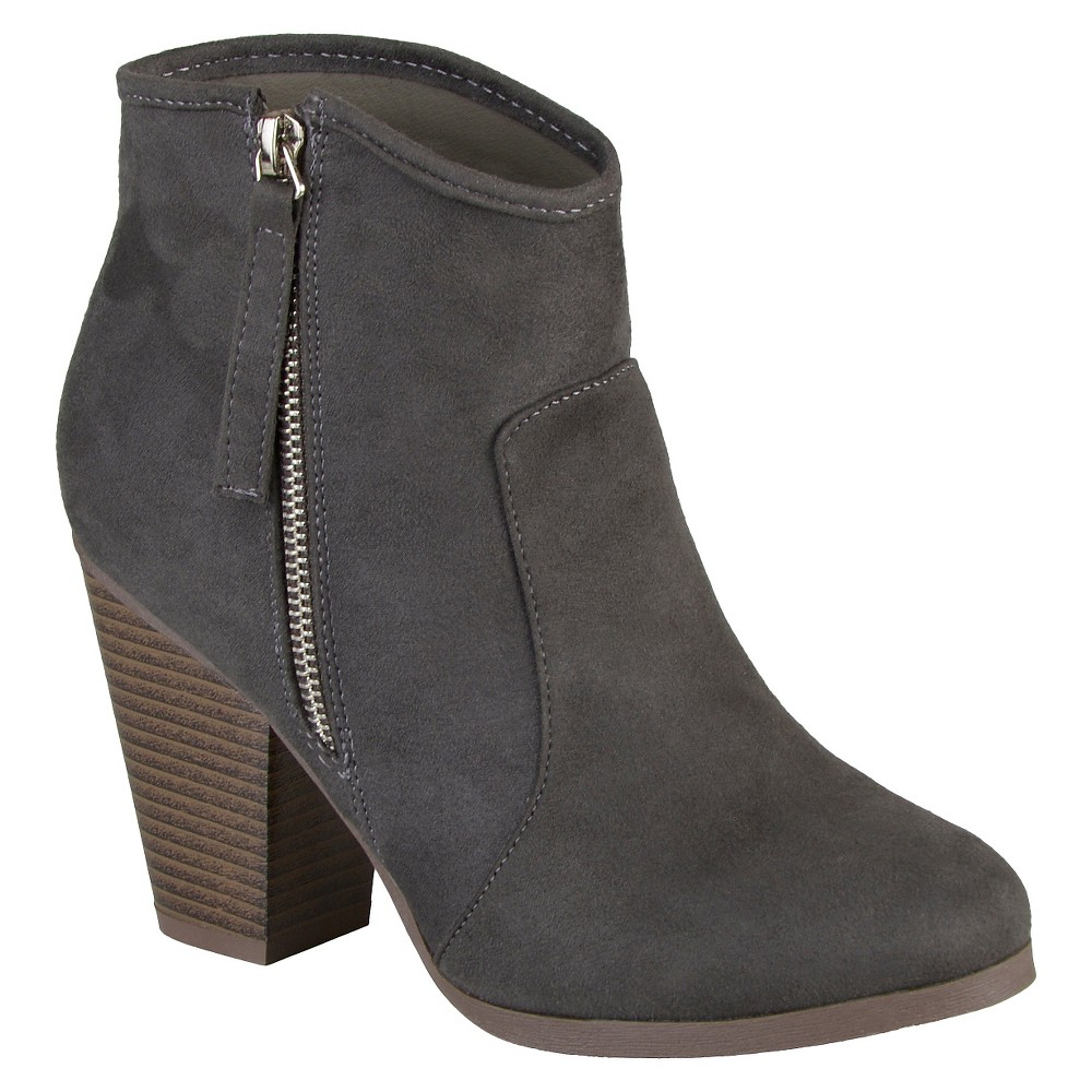 Women's Journee Collection Link Faux Suede Booties - Charcoal 11, Rich Charcoal