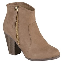 Women's Journee Collection Link Faux Suede Booties - Taupe - 8.5