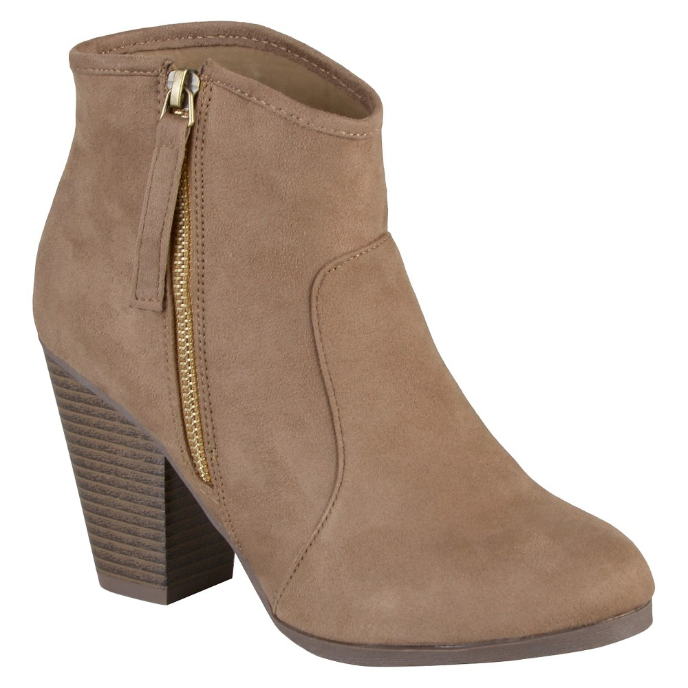 Womens Journee Collection Link Faux Suede Booties - Taupe -11, Size: 11, Taupe Brown