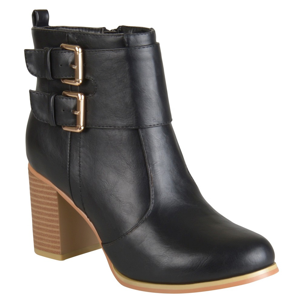 Women's Journee Collection Heeled Buckle Booties - Black 10 plus size,  plus size fashion plus size appare