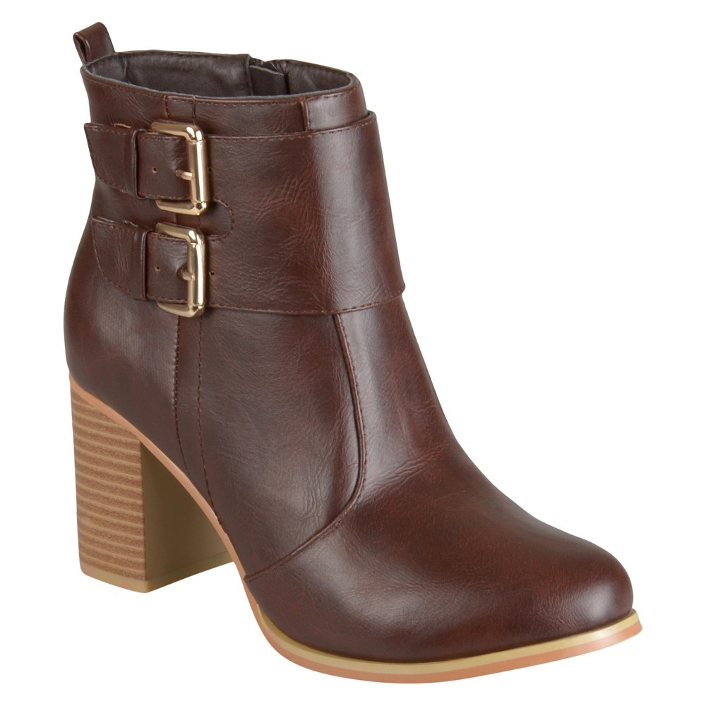 Womens Journee Collection Heeled Buckle Booties - Brown 8