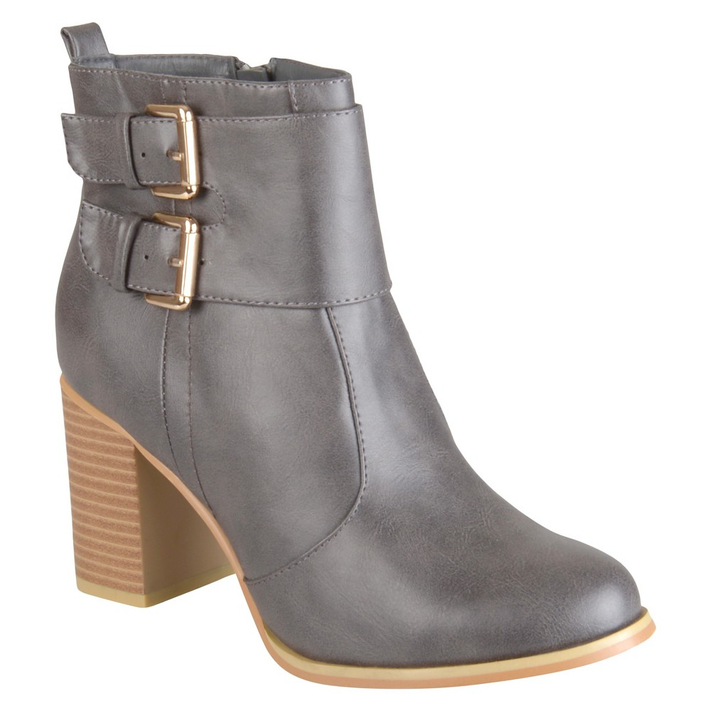 Womens Journee Collection Heeled Buckle Booties - Gray 8