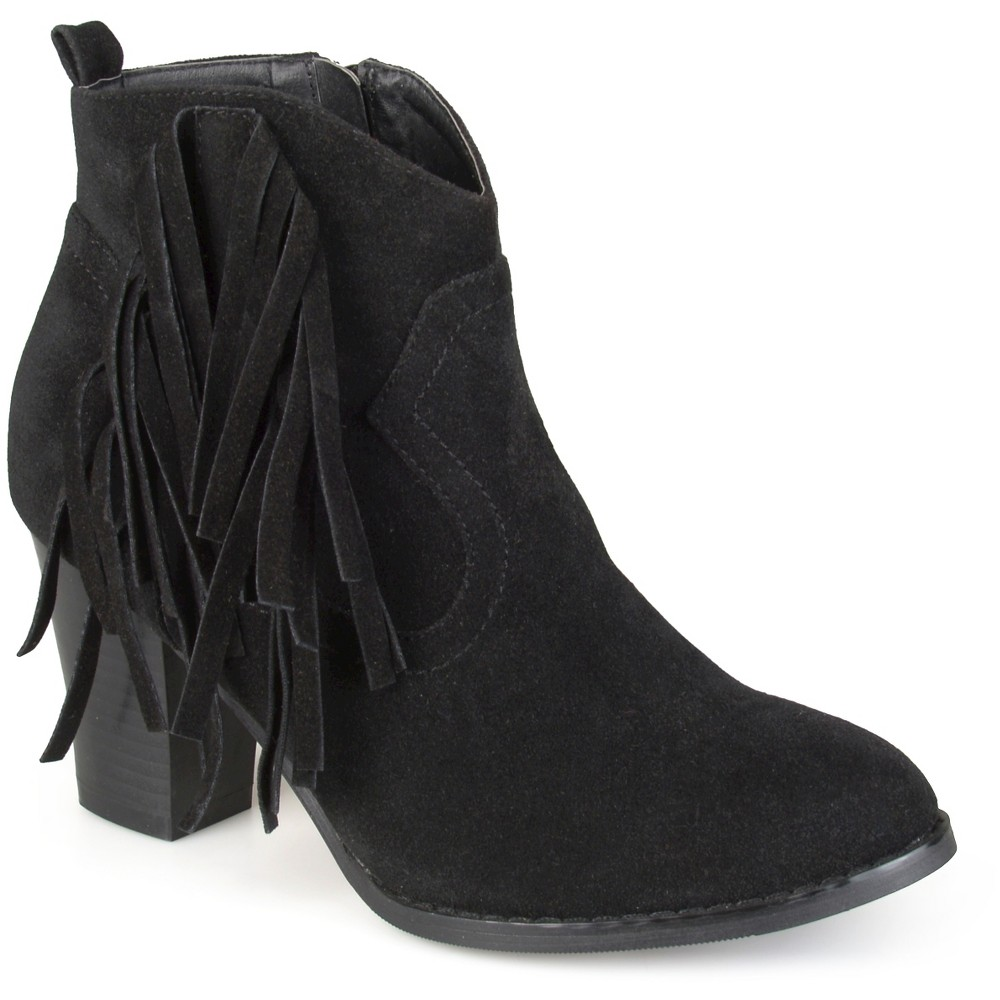 Womens Journee Collection Spin Faux Suede Fringed Boots - Black 8