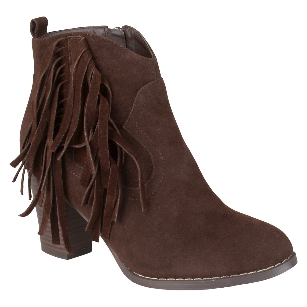 Womens Journee Collection Spin Faux Suede Fringed Boots - Brown 7.5