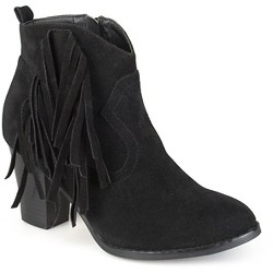 Women's Journee Collection Spin Faux Suede Fringed Boots - Black 10