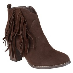 Women's Journee Collection Spin Faux Suede Fringed Boots - Brown 9
