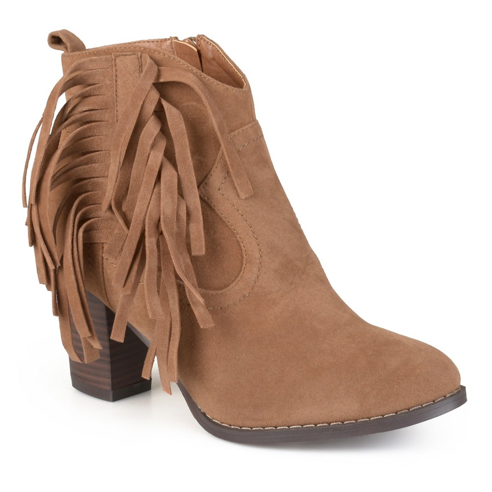Womens Journee Collection Spin Faux Suede Fringed Boots - Taupe 8.5, Taupe Brown