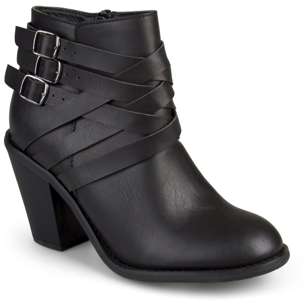 Womens Journee Collection Multiple Strap Booties - Black 7.5