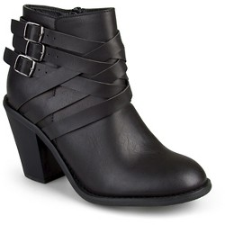 Women's Journee Collection Multiple Strap Booties - Black 8.5