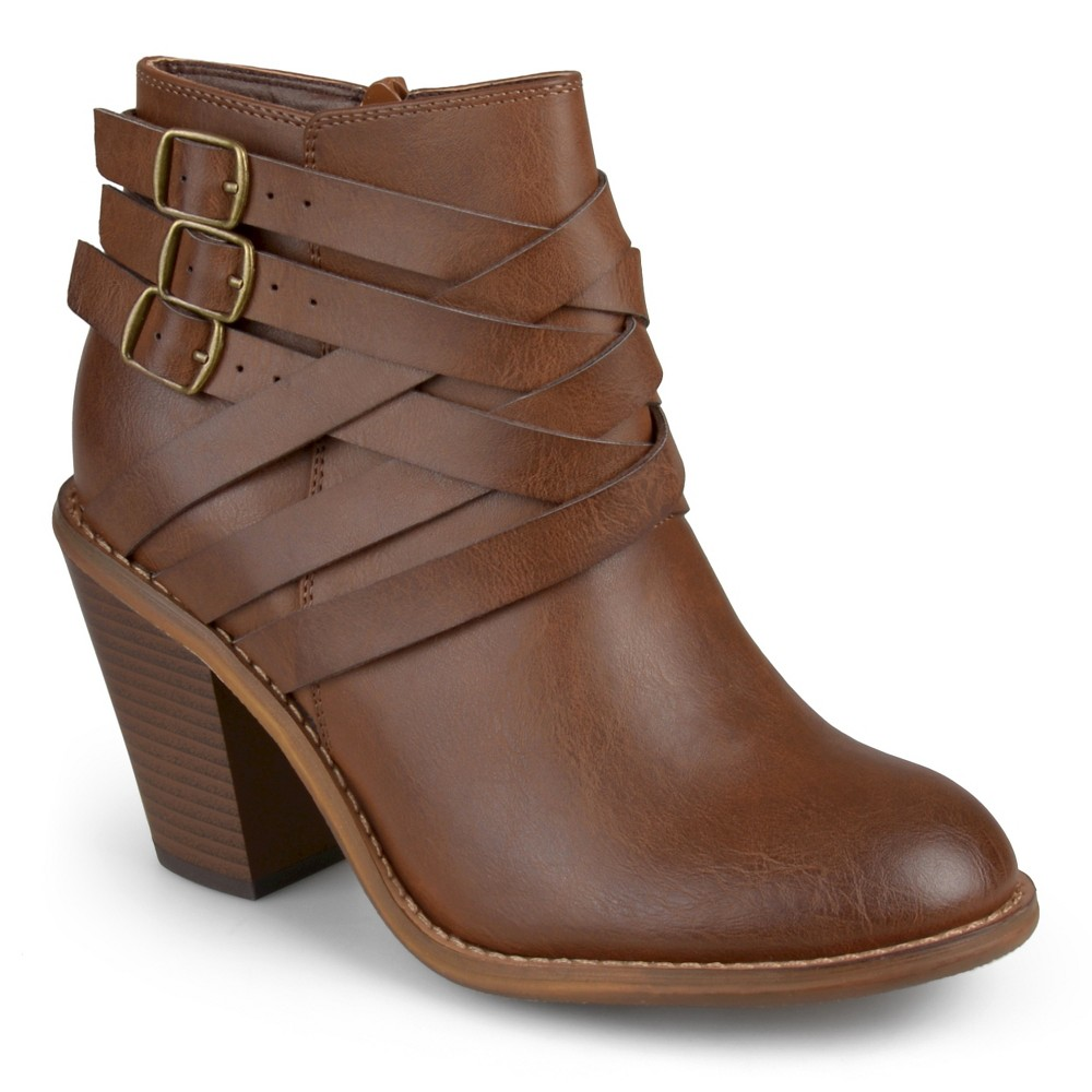 Womens Journee Collection Multiple Strap Booties - Brown 7.5