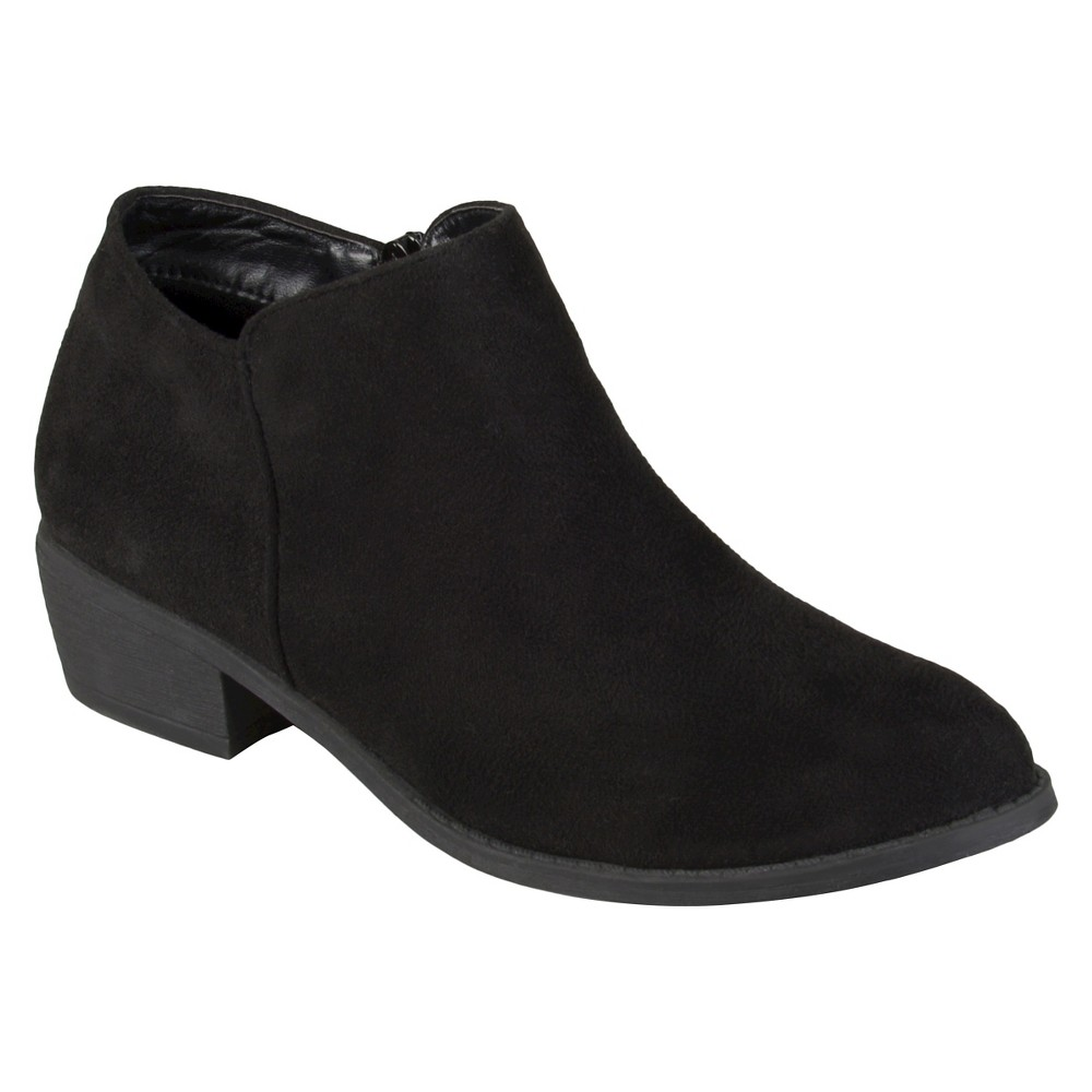 Womens Journee Collection Sun Faux Suede Heeled Booties - Black 7.5
