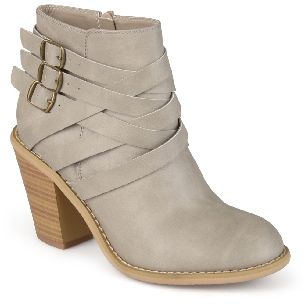Womens Journee Collection Multiple Strap Booties - Stone (Grey) 10