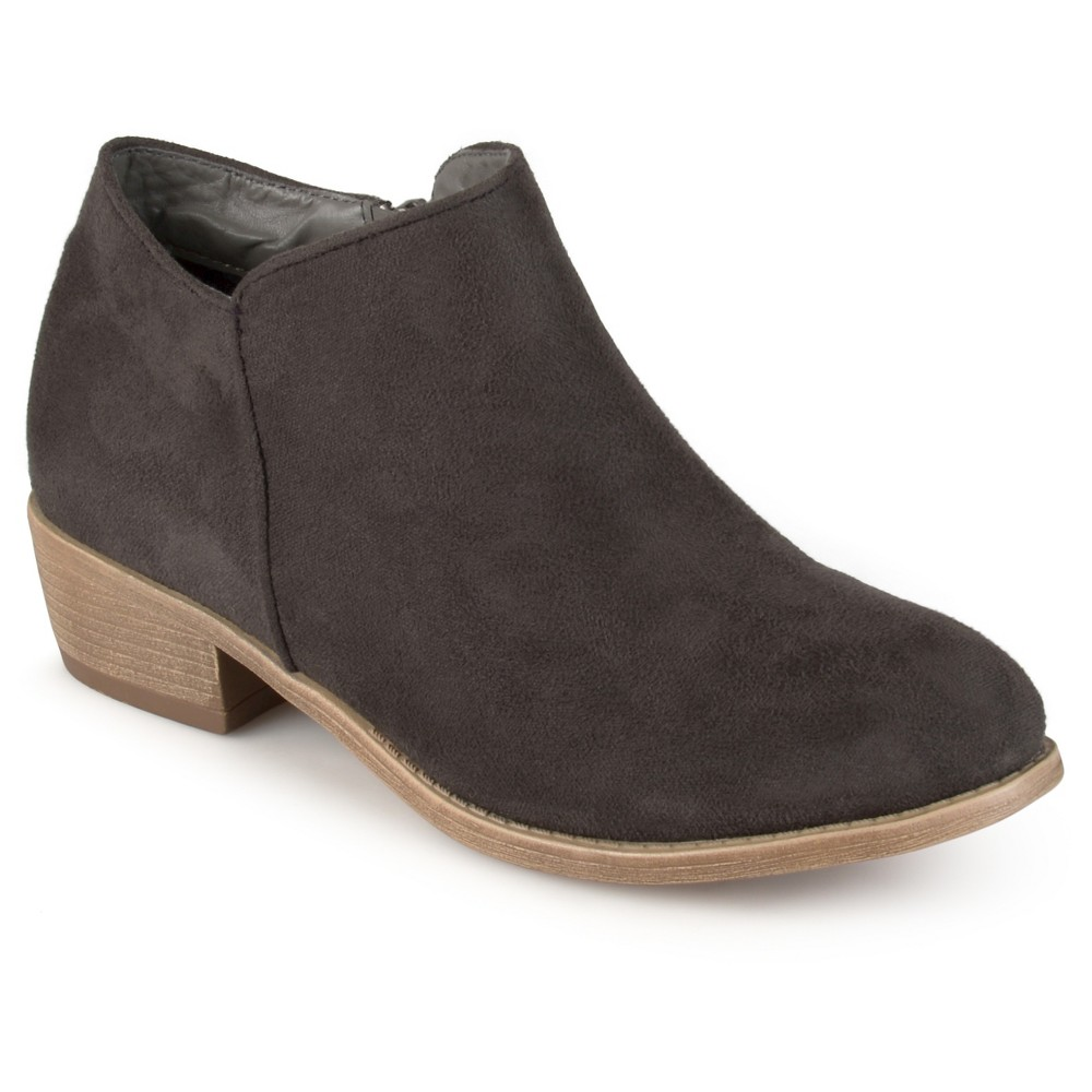 Womens Journee Collection Sun Faux Suede Heeled Booties - Gray 6.5