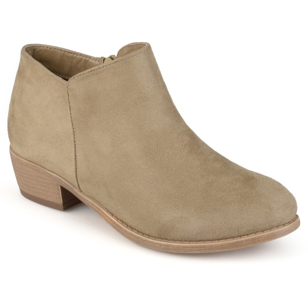 Womens Journee Collection Sun Faux Suede Heeled Booties - Taupe (Brown) 10