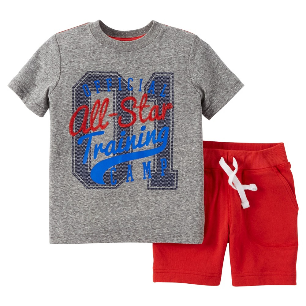 Toddler Boys 2pc Shorts Set - Just One You Made by Carters Heather Gray/Red 7