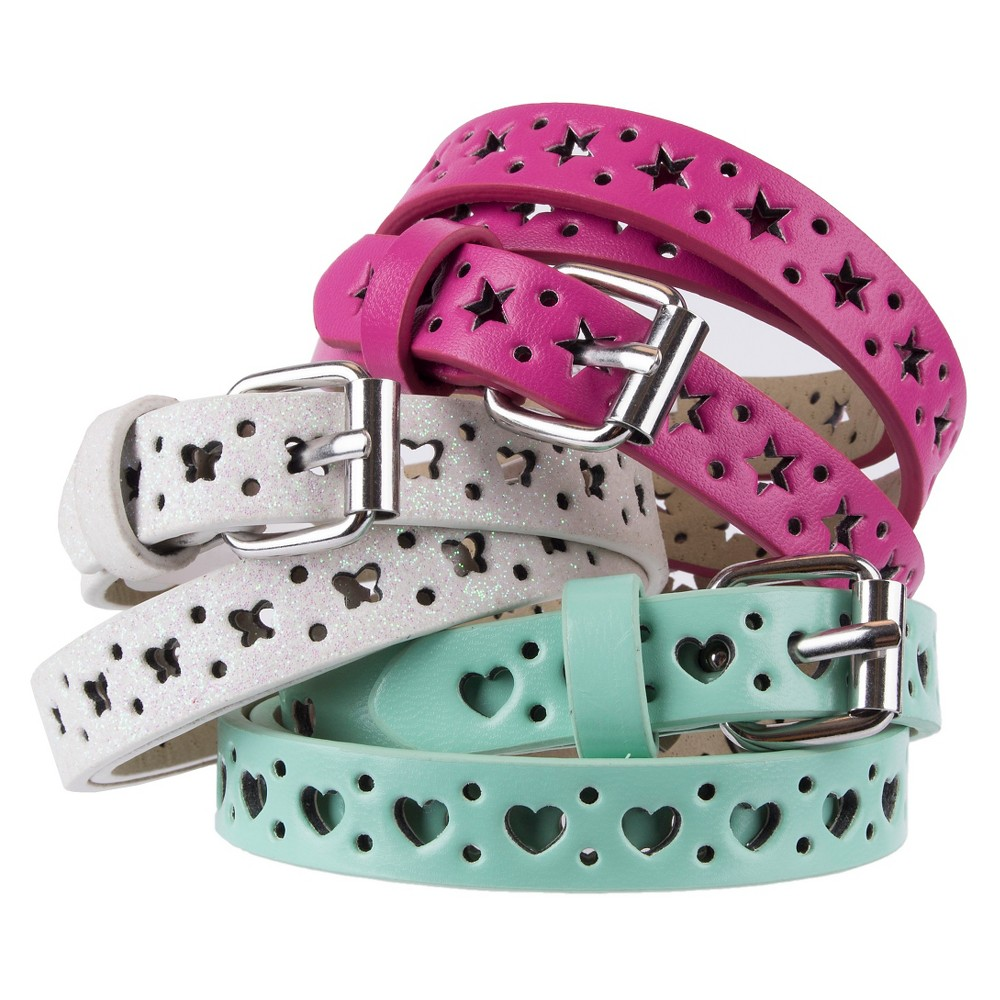 Girls 3 Pack Star Heart Butterfly Belt - Cat & Jack Multicolored XL