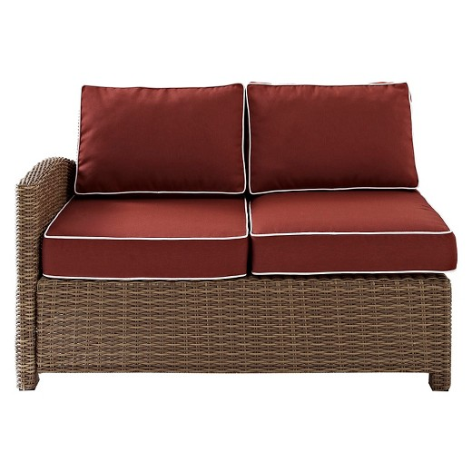 Crosley Bradenton Outdoor Wicker Sectional Left Corner Loveseat W Sangria Cus