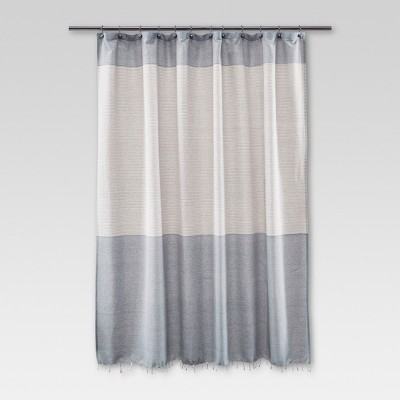 Fringe Shower Curtain Stripe Blue - Threshold™