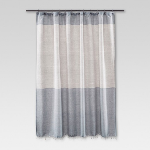white and silver shower curtain. Fringe Shower Curtain  Stripe Blue Threshold Target