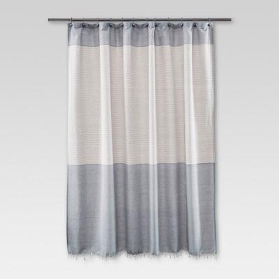 fringe shower curtain stripe blue threshold