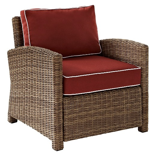 Crosley Bradenton Outdoor Wicker Arm Chair with Sangria Cushions Tar